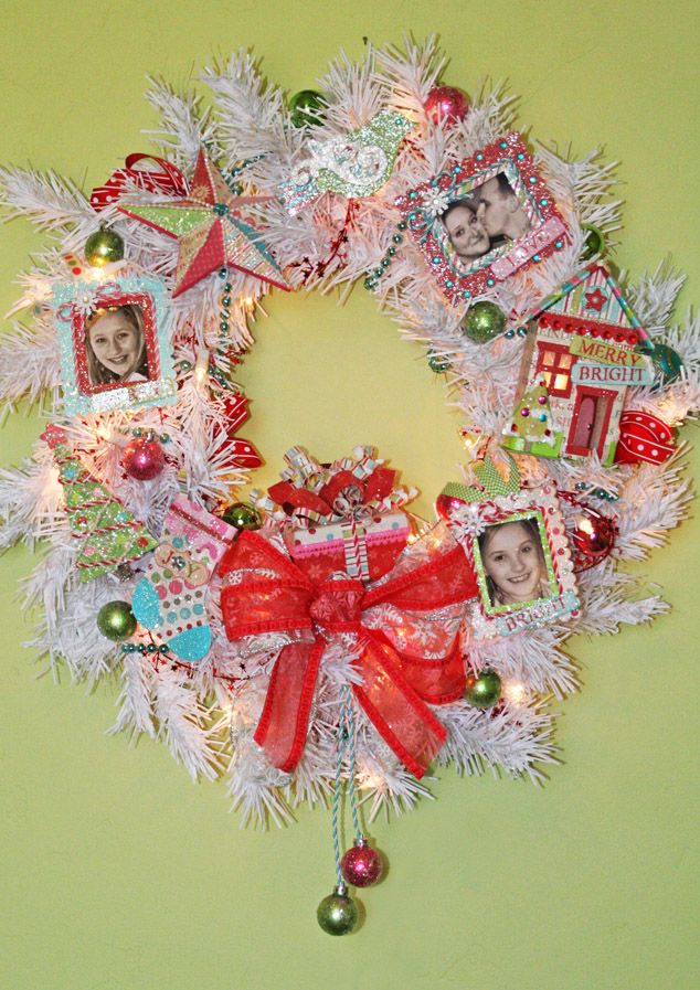 Wreath on green wall